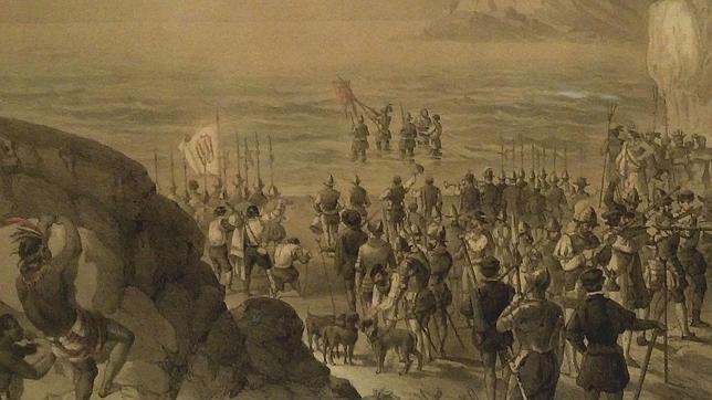 vasco-nunez-de-balboa-toma-posesion-del-mar-del-sur-museo-naval-espana